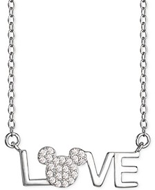 "Cubic Zirconia Mickey Mouse LOVE 18"" Pendant Necklace in Sterling Silver"