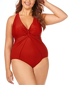 Trendy Plus Size Juniors' Canaria Mesh-Trim One-Piece Swimsuit