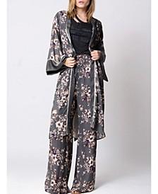 Floral Printed Mixed Media Kimono