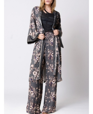 Vintage Coats & Jackets | Retro Coats and Jackets Wanderlux Floral Printed Mixed Media Kimono $80.00 AT vintagedancer.com