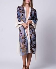 Floral Burnout Velvet Mixed Media Kimono