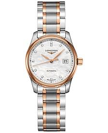 Women's Swiss Automatic Master Diamond (1/20 ct. t.w.) 18k Rose Gold & Stainless Steel Bracelet Watch 29mm