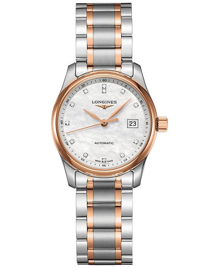 Longines - Women's Swiss Automatic Master Diamond (1/20 ct. t.w.) 18k Rose Gold & Stainless Steel Bracelet Watch 29mm
