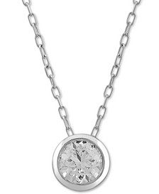 "Diamond Bezel Circle 18"" Pendant Necklace (1/2 ct. t.w.) in 10k White Gold"
