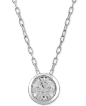 "Diamond Bezel Circle 18"" Pendant Necklace (1/2 ct. t.w.) in 10k White Gold"