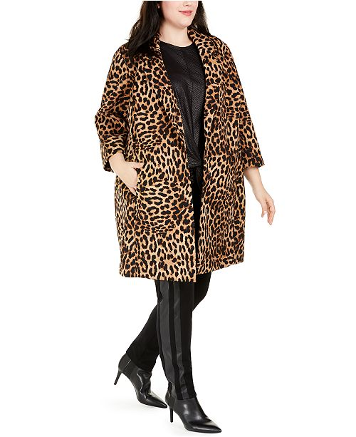 INC International Concepts INC Plus Size Leopard-Print Cocoon Coat, Created for Macy's