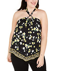 INC Plus Size Floral-Print Halter Top, Created For Macy's