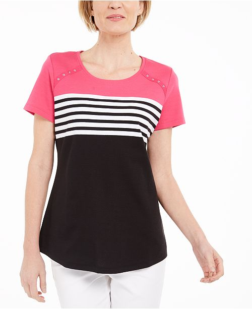 Karen Scott Petite Stripe Colorblocked Top, Created for Macy's