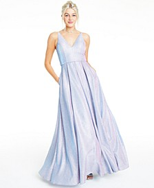 Juniors' Sparkling Glitter Plunge Gown