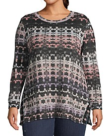 Plus Size Metallic Printed Tunic