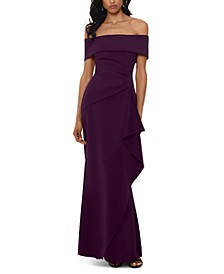 Petite Off-The-Shoulder Ruffled Gown