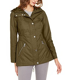 Adjustable-Waist Water-Resistant Hooded Anorak