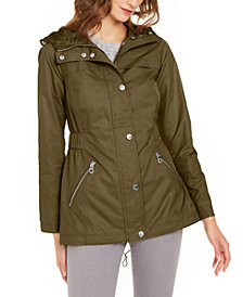 GUESS Adjustable-Waist Water-Resistant Hooded Anorak
