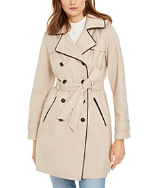 Hooded Faux-Leather-Trim Double-Breasted Trench Coat