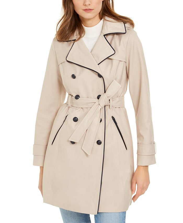GUESS - Hooded Faux-Leather-Trim Trench Coat