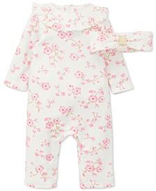 Baby Girls 2-Pc. Cotton Cherry Blossom Coveralls & Headband Set