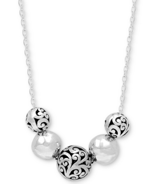 Filigree & Polished Bead Statement Necklace in Sterling Silver