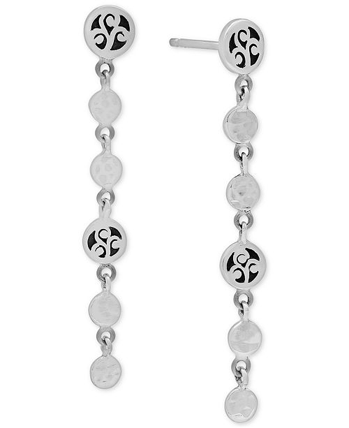 Lois Hill Filigree & Polished Disc Drop Earrings in Sterling Silver