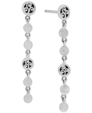 Filigree & Polished Disc Drop Earrings in Sterling Silver