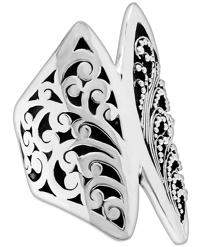 Lois Hill - Carved Filigree Statement Ring in Sterling Silver