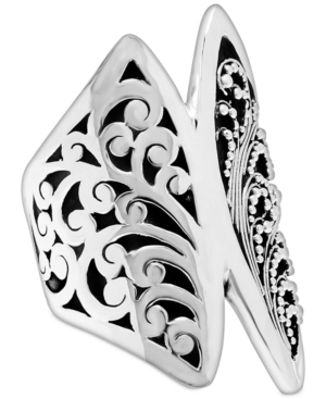 Carved Filigree Statement Ring in Sterling Silver