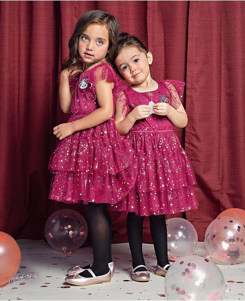 Hello Kitty Toddler Girls Printed Mesh Ruffle Dress