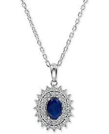 "Sapphire (3/4 ct. t.w.) & Diamond (1/10 ct. t.w.) 18"" Pendant Necklace in Sterling Silver"