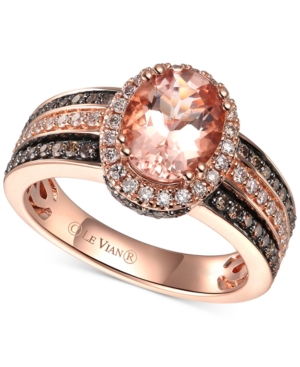 Peach Morganite (1-1/3 ct-t.w.) & Diamond (5/8 ct. t.w.) Ring in 14k Rose Gold