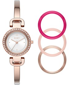 Women's CityLink Rose Gold-Tone Stainless Steel Bangle Bracelet Watch 26mm Gift Set
