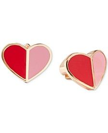 Gold-Tone Folded Heart Stud Earrings