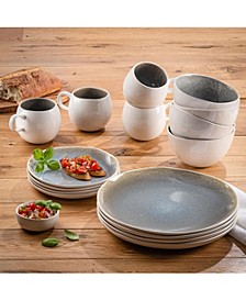 ELLE Fiora Stoneware 16-Piece Dinnerware Set, Service For 4