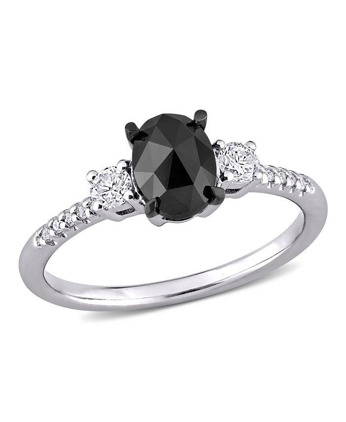 Macy's - Black and White Diamond (1 1/5 ct. t.w.) 3-Stone Engagement Ring in 14k White Gold