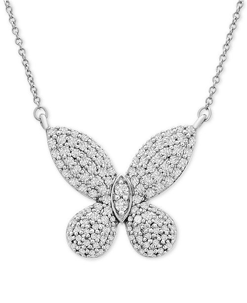 """Wrapped in Love Diamond Butterfly 20"""" Pendant Necklace (1/2 ct. t.w.) in 14k White Gold, Created For Macy's"""