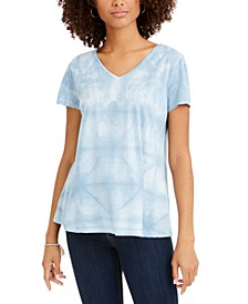 Tie-Dyed Linen-Blend Top, Created For Macy's