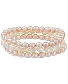 3-Pc. Set Pink & White Cultured Baroque Dyed Freshwater Pearl (6-7mm) Stretch Bracelets