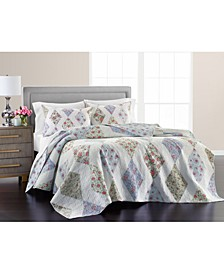 Reversible Diamond Floral Patchwork Full/Queen Quilt, Created For Macy's