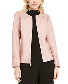 Pintucked Faux-Leather Jacket, Created for Macy's