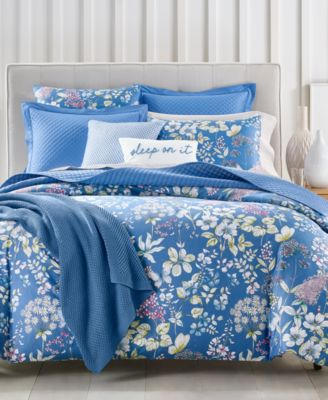 Meadow Cotton 300-Thread Count 2-Pc. Twin Duvet Cover Set, Created for Macy's