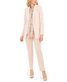 Open-Front Blazer, Floral-Print Blouse & Tapered Pants