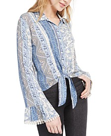 Juniors' Paisley Tie-Front Top