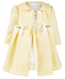 Baby Girls 2-Pc. Yellow Textured Coat & Stripe Dress Set