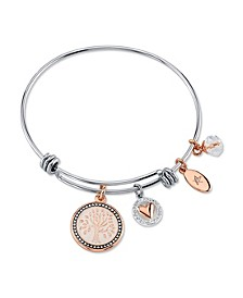 """My Family, My Love"" Family Tree Bangle Bracelet in Stainless Steel & Rose Gold-Tone with Silver Plated Charms"