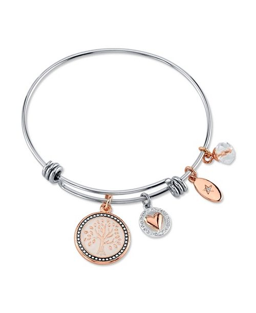 "Unwritten ""My Family, My Love"" Family Tree Bangle Bracelet in Stainless Steel & Rose Gold-Tone"