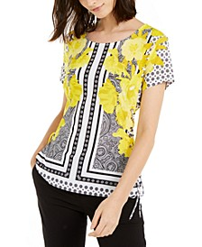 INC Printed Lace-Up Corset Top, Created for Macy's