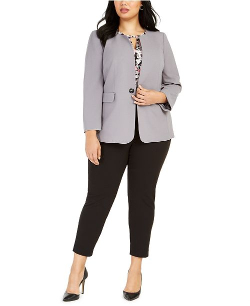 Nine West Plus Size Toggle-Front Jacket, Floral-Print Blouse & Pull-On Pants