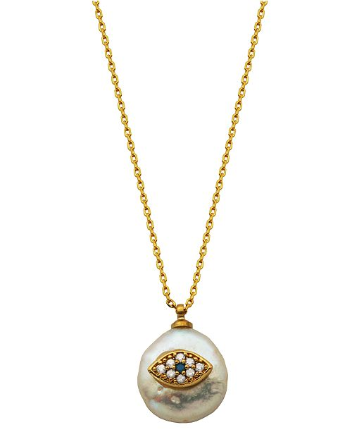Macy's Pearl with Evil Eye Necklace in Fine Silver Plate