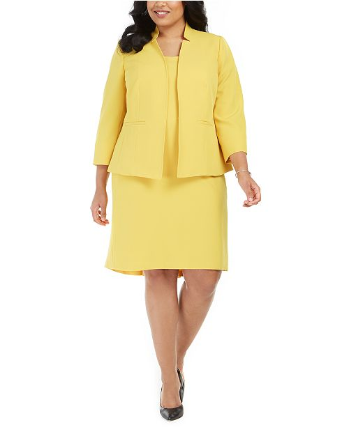 Kasper Plus Size Stand-Collar Blazer & Flounce Sheath Dress