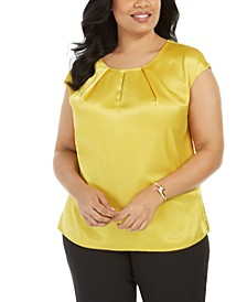 Plus Size Keyhole Charmeuse Top