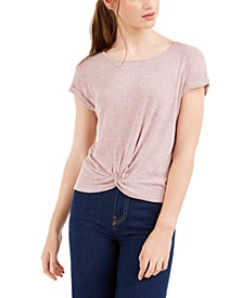 Juniors' Twist Front Ribbed T-Shirt