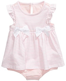 Baby Girls Striped Bow Skirted Romper, Created For Macy's